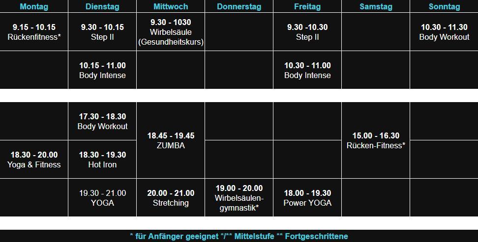 Sepps Fitness Kursplan Kahl 20.03.19
