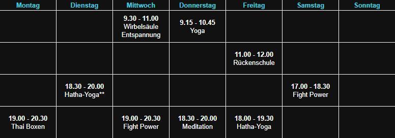 Sepps Fitness Kursplan Hösbach Raum 1 03.10.19