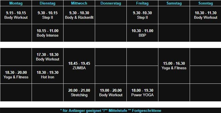 Sepps Fitness Aschaffenburg Kursplan Kahl ab 01.11.19